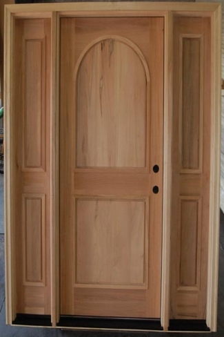 Unfinished solid wood white mahogany exterior pre hung for Pre hung doors