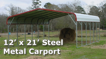 FREE INSTALLATION! ANYWHERE IN THE USA! & 12u0027 x 21u0027 Steel Metal Carport Storage Building - Installation Included