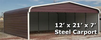 12 39 x 21 39 x 7 39 steel carport garage storage building w sides installation included. Black Bedroom Furniture Sets. Home Design Ideas