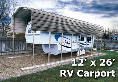 12 X 26 Rv Steel Metal Carport Cover W Extra Panels