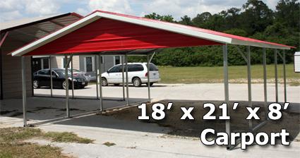 18 X 21 X 8 Two Bay Steel Carport Garage Storage