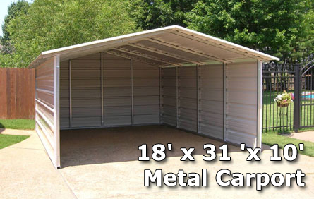 18 X 31 X 10 Metal Carport Amp Rv Cover With Side Walls