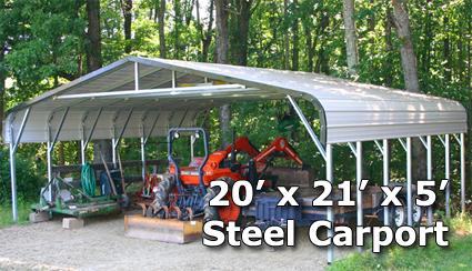 20 X 21 X 5 Steel Carport Garage Storage Building