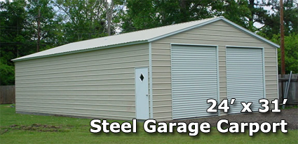 24 X 31 Fully Enclosed Two Door Carport Garage
