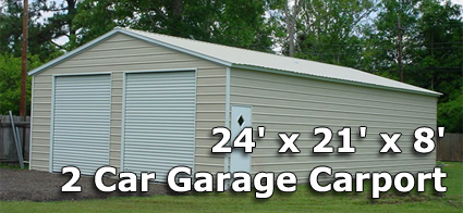 24 X 21 X 8 Two Car Steel Metal Garage Carport