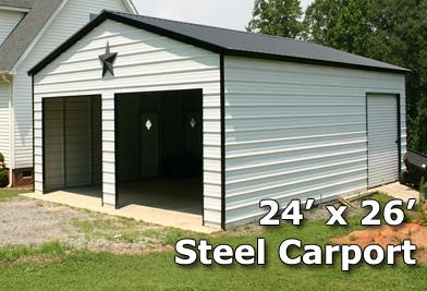 24x26 Fully Enclosed Steel Garage Carport Installation