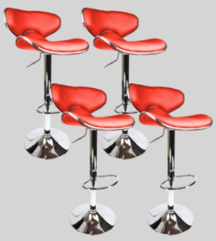 4 swivel red elegant pu leather modern adjustable for 360 the colour bar salon