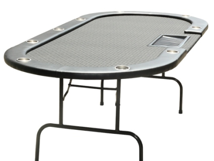 Folding Black Leather Texas Holdem Poker Table With 10