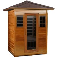 3 Person Outdoor Carbon Infrared Sauna (Red Cedar)