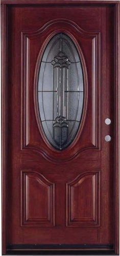 Give your home a makeover with this Solid Wood Mahogany 36  Single Oval Pre-Hung Exterior Door. Wood doors add a touch of elegance and vintage charm to any ... & Solid Wood Mahogany 36