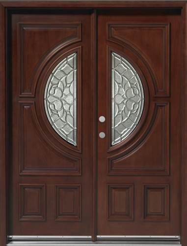 Solid wood mahogany 30 39 39 center moon exterior double door unit - Wood and glass double entry doors ...