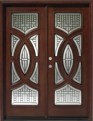 Wood mahogany 30 circular exterior double door unit wood doors add a