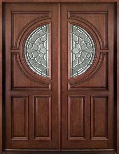Solid Wood Mahogany 36\'\' Center Moon Exterior Double Door Unit