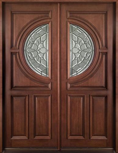 Solid Wood Mahogany 36 Center Moon Exterior Double Door Unit