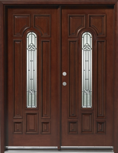 Solid wood mahogany 30 39 39 center arch exterior double door unit for Solid wood front doors