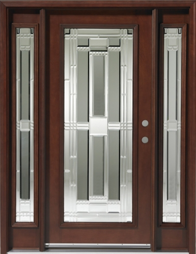 Solid wood mahogany full light with sidelights exterior for Wood doors with sidelights