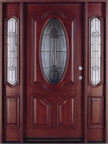 Give your home a makeover with this Solid Wood Mahogany Oval Contemporary Glass With Sidelights Exterior Pre-Hung Door. Wood doors add a touch of elegance ... & Solid Wood Mahogany Oval Contemporary Glass With Sidelights ...