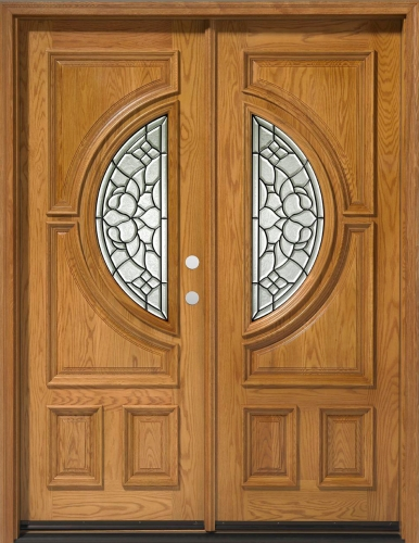 solid wood red oak 30 39 39 center moon exterior double door unit