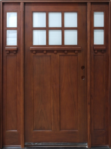 Solid wood cherry exterior pre hung door with sidelights for Solid wood front doors