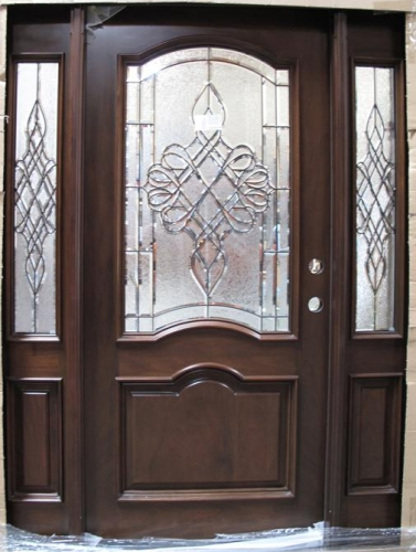 Solid Wood Cherry Double Arch Victorian Glass With Sidelights Exterior Pre Hung  Door