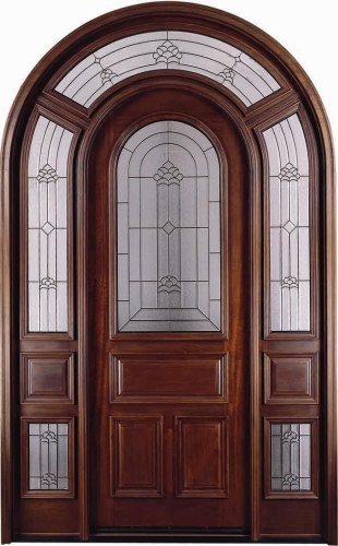 Arch Top W Surround Mahogany 12 Lite Solid Wood Entry Door