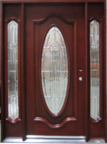 Solid Wood Mahogany Full Oval With Sidelights Exterior Pre