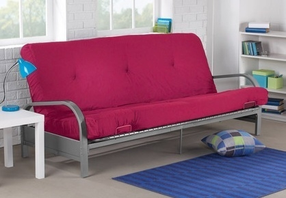 Brand New Metal Futon Sofa Bed Couch With Pink Full Size