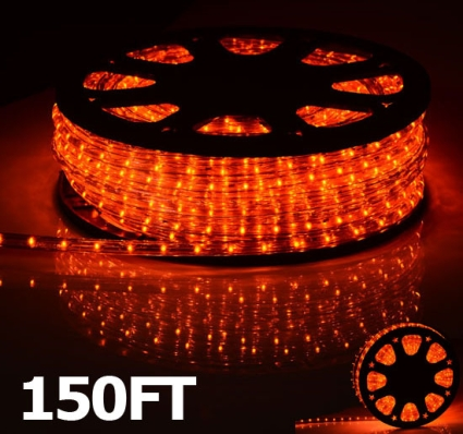 High quality 150 orange led outdoor rope light 12 inch tube 110v this 150 ft led rope light is ideal for holidays outdoor decorations or other joyous occasions you can cut the rope into varying lengths which gives you aloadofball Gallery