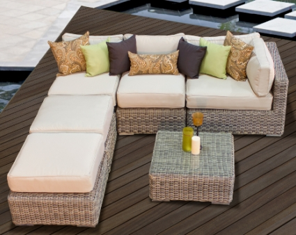 Royal Cayman 6 Piece Outdoor Wicker Sectional Sofa Set