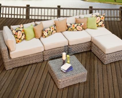 Royal Bahamas 6 Piece Outdoor Wicker Sectional Sofa Set