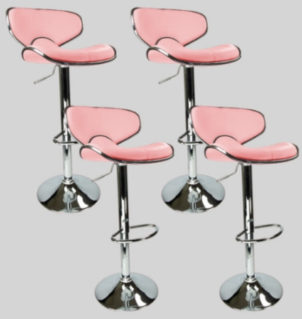 sc 1 st  SaferWholesale & 4 Pink Swivel Leather Modern Adjustable Hydraulic Bar Stools islam-shia.org