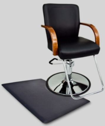 ... Barber Chair With Wooden Arm Rests and Anti Fatigue Comfort Floor Mat