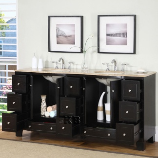 Bathroom Double Vanity on Quality 72  Bathroom Double Vanity With Travertine Top   Double Sink