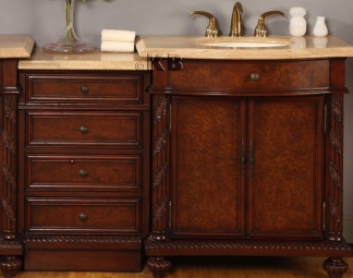 High Quality 84 Bathroom Vanity Cabinet With Travertine Top Double Sin