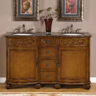 Bathroom Vanity Tops on Quality 58  Bathroom Vanity Cabinet With Granite Top   Double Sink