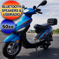 50cc Revolution Scooter With Bluetooth Speakers And USB With Electric Start - 49cc Motor