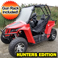 150cc Enforcer XL Hunting UTV Golf Cart Utility Vehicle W/Custom Rims/Tires Hunters Edition with Gun Rack
