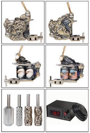 High Quality Empaistic Bald Eagle LCD 2 Guns Tattoo Machine Kit