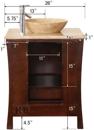 Countertop Height Vessel Sink : ... Vanity Cabinet with Roman Vein-Cut Travertine Top & Vessel Sink