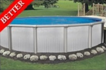 "Aegean 24' Round 52"" Steel Above Ground Swimming Pool with 8"" Toprail"