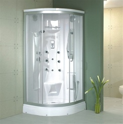 Acrylic Jetted Corner Shower Glass w/Massage Jets