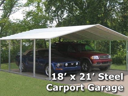 18 39 x 21 39 x 6 39 steel carport garage storage building installation included. Black Bedroom Furniture Sets. Home Design Ideas