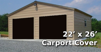 22\' x 26\' Fully Enclosed Steel Garage Carport - Installation Included