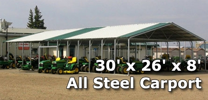 x 26\' x 8\' All Steel Carport with Vertical Roof - Installation ...