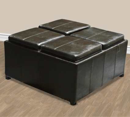 Brand New Brown Leather Ottoman With 4 Tray Tops Storage Bench Coffee Table