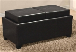 Brand New Leather Ottoman With 2 Tray Top Storage Coffee Table Bench