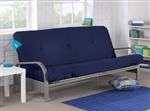 Metal Futon Sofa Bed Couch with Blue Full Size Mattress
