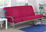 Metal Futon Sofa Bed Couch with Pink Full Size Mattress