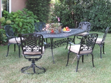 7pc Black Bronze Cast Aluminum Outdoor Patio Furniture