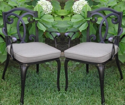 2pc Black Antique Bronze Cast Aluminum Outdoor Patio Furniture Chair